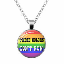 Gay Pride Necklace Same Sex LGBT Silver Jewelry With Rainbow Love Wins New #102