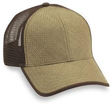 NEW STRAW FRONT TRUCKER HAT snapback cap adjustable brown tan mesh