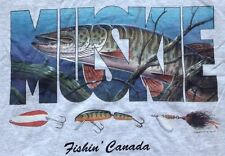AWESOME! MUSKIE Fishin' Canada Fishing Fisherman Lures Bait Mens TShirt LARGE