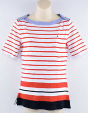TOMMY HILFIGER Women's Boat Neck Red Striped T-shirt Top, size XS/S