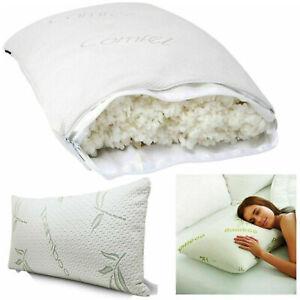2 x Bamboo filled Fair Orthopedic Shredded Memory Foam Head Neck Back Pillows