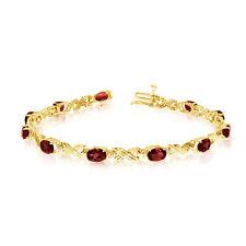 "14K Yellow Gold Oval Garnet Stones And Diamonds Tennis Bracelet, 7"""
