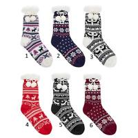 John Lewis Christmas Reindeer Slipper socks Size 4-8 Blue Anti Slip RRP £14