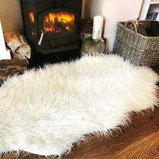 Cream White Fluffy Plain Bedroom Faux Fur Fake Fur Non Slip Cozy Sheepskin Rug