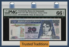 "TT PK 112b 2007 GUATEMALA 20 QUETZALES ""M. GALVEZ"" PMG 66 EPQ GEM UNCIRCULATED!"