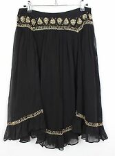 Womens French Connection Size 8 Black Embellished Silk/Cotton Boho Gypsy Skirt