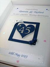 Personalizzata Sapphire 45º NOZZE ANNIVERSARIO CARD, cristalli SWAROVSKI, inscatolato