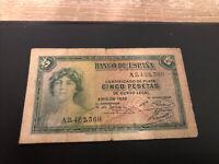 Spain Banknote - 5 Pesetas 1935 Circulated - Nice Note 01