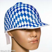 Jockey Helmet Blue & White Diamond Pattern Kentucky Derby Costume Hat OS