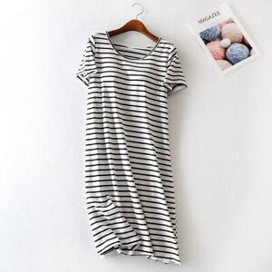 100% Cotton Built In Bra Wireless Striped Patio Dress Night Lounge Sleepwear