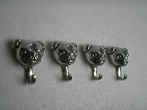 Metal Bull Dog Coat Hooks Lot of 4 Pcs Sculpture Statue Figurine B a/u.