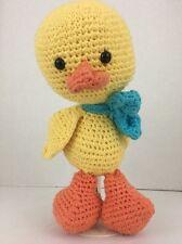 Duck Plush Yarn Knit Stuffed Animal Toy Doll 11 Inch Yellow Appears Handmade
