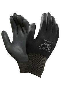 5 Pairs ANSELL SENSILITE 48-101 Black PU Palm Coated Nylon Work Gloves SALE