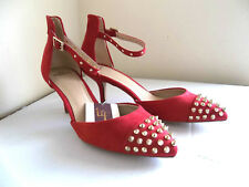 NEW ZARA VAMP BLOGGERS RED STUDDED SUEDE KITTEN HEEL SHOES, UK 3 /EUR36