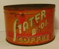 Vintage 1940s STATER BROTHERS COFFEE TIN CAN GRAPHIC ONE POUND COLTON CALIFORNIA