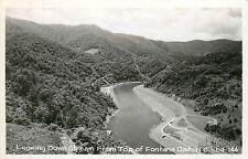 North Carolina, NC, Fontana Dam, Looking Down Stream Fr Top Real Photo Postcard