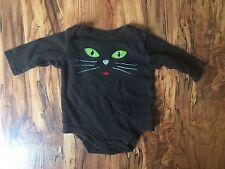 Halloween Baby Bodysuit Unisex Black /w Cat Face Spooky Kitty Size 0-3 Months