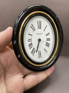 Authentic Cartier Baignoire Oval Desk Alarm Clock  Blue Lacquer White Dial  R3