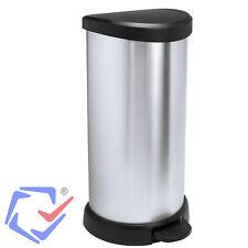 Curver Abfallbehälter 40 Liter mit Fußpedal Metalloptik Pedaleimer Mülleimer