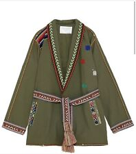 Zara Jacket XS Green Mirrored Embroidery Parka Belt Ethnic Print Lightweight