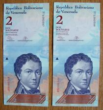 VENEZUELA 2013  PAIR OF VERY COLLECTABLE CONSECUTIVE UNC TWO BOLIVARES BANKNOTES
