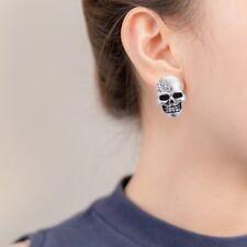 Retro Rhinestone Skull Head Ear Piercing Stud Earrings Dangler Ghost Studs