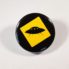 """UFO ALIEN FLYING SAUCER LOGO Badge/Button GIFT with METAL PIN (Size is 1""""/25mm)"""