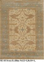 INDIAN HAND KNOTTED 9x12 270x365 OUSHAK PERSIAN ORIENTAL AREA RUG WOOL CARPET