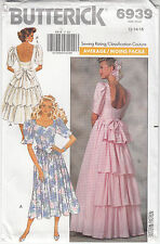 Misses Dress Wedding Bridesmaid Back Ruffles Butterick 6939 Uncut Sizes 12-16