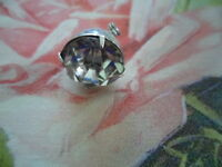 SMALL ANTIQUE VINTAGE CRYSTAL SILVER SET BROOCH PIN SUIT DOLL OR BEAR DRESS