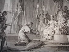 GRAVURE XVIIIe / REGENGE DE BLANCHE.SOUMISSION DU Cte DE CHAMPAGNE AN 1226