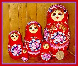 MATRYOSHKA RED Gold Butterfly Babushka 5 Nesting Russian Dolls signed NIKITINA
