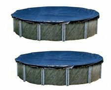 Swimline 24 Foot Round Above Ground Swimming Pool Winter Cover, Blue, 2