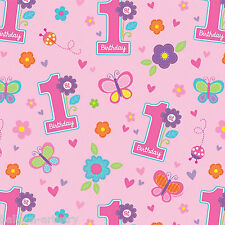 1.5m Sweet Pink Butterfly Girl's 1st Birthday Party Gift Wrap Wrapping Paper