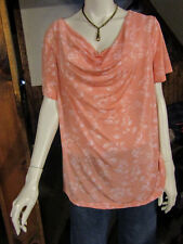 """JACLYN SMITH"""" PLUS WOMANS 2X PEACH/WHITE FLORAL DRESS/CASUAL TOP COWL NECK NWT"""