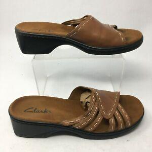 Clarks Women 8M Casual Slide Heeled Sandals Comfort Heels Brown Leather Open Toe