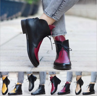 Ladies Lace Up Ankle Flat Boots Pointed Toe Patent Leather Women Riding Shoes Sz