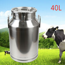 Stainless Steel Milk Can Storage Bucket Barrel Container w/ Lid & Handles 40L