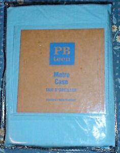 Pottery Barn Teen Kids METRO Blue Cotton Pillow Case Sham Cover Bedding  S NWT