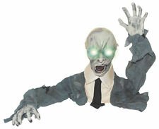 ANIMATED HALLOWEEN ZOMBIE GROUND BREAKER LED EYES TURNING HEAD WITH SOUND