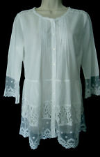 LAURA ASHLEY GYPSY BOHO WHITE PINTUCKS & LACE CASUAL SUMMER BLOUSE TOP, 10