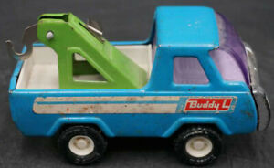 Authentic Vintage Buddy L Tow Truck Wrecker BLUE with GREEN Rare Collectible!