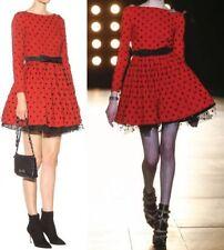 $5490 NEW! NWT SAINT LAURENT Skater Dress Red/Black Polka-Dot Mesh Size 4 RUNWAY