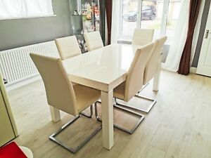 DFS Dining Table Set w/6 Faux Leather Chairs White Kitchen Furniture