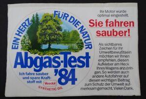 Auto-Aufkleber Abgas-Test 1984 Ein Herz für die Natur Veedol Ich fahr sauber