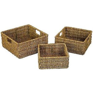 JVL Storage Baskets Seagrass Container Room Square Inset Handles