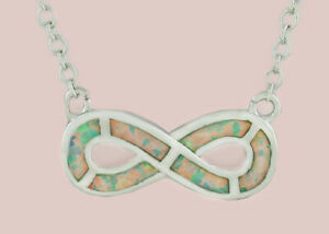 GENUINE OPAL NECKLACE 14k WHITE GOLD PLATED ** New With Tag **