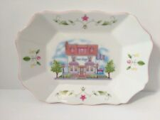 Lenox Village Porcelain Sweet Shop Candy Tray Platter Plate Pink Floral Cottage