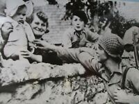 WWII US Army Photo Soldier in France with Liberated Children WW2
