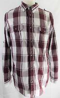 DKNY JEANS Shirt Men''s BURGUNDY White Plaid Check L- Lg 17.5 Long Sleeve Cotton